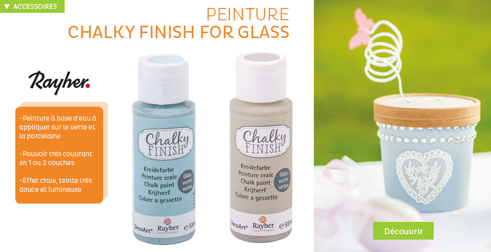 Peinture Chalky finish for glass